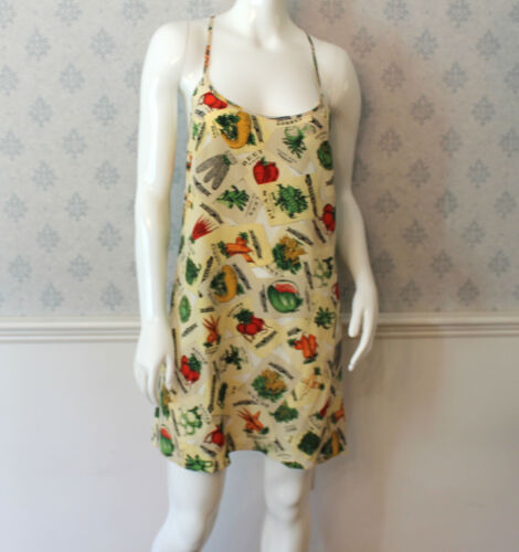 Lawrence Scott Henri Bendel Silk Vintage Vegetable Print Slip Lingerie