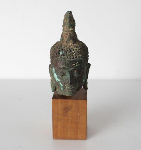 Antique Indo Asian Thai Buddhist bronze Head fragment, mounted on wood plinth