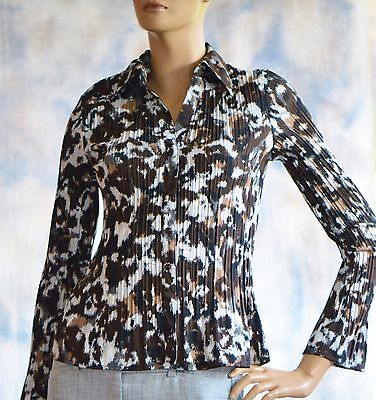 APT 9 Sz PS Casual Shirt Blouse Poly Spandex Accordian Fabric Brown Grunge Flora