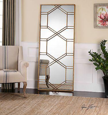 "Contemporary 70"" Gold Metal Overlay Mirror | Wall Floor Lean"