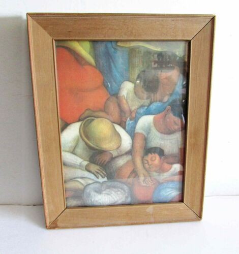 "Wood Framed VTG Diego Rivera Print Sleep NIGHT OF THE POOR 11.5x14.25"" FREE SH"