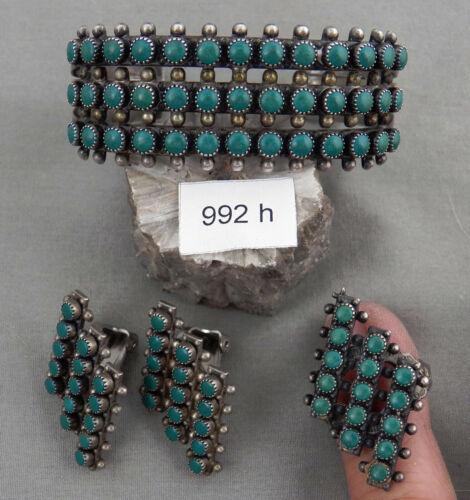 Early Navajo Sterling Silver & Turquoise Bracelet, Ring, Earrings Set