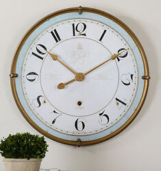 TORRIANA 32 ANTIQUED GOLD METAL ROUND WALL CLOCK LARGE NUMBERS AGED IVORY FACE