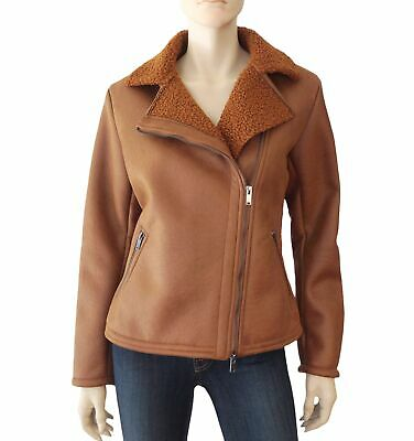 AMS PURE Butterscotch Brown Vegan Shearling Leather Biker Jacket 10 NEW  for sale  Shipping to India