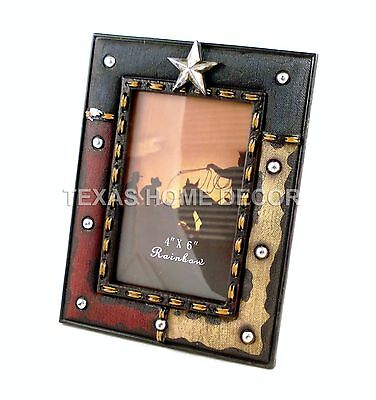 "Western Texas Rustic Picture Frame Texas Flag Silver Studs Star Holds 4x6"" Photo - Star Photo Frame"