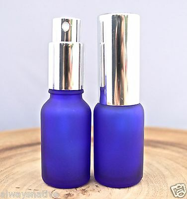 1/2oz BLUE FROSTED Glass Bottle Professional SPRAY CAPS (15ml) - Pack of 12 - Frosted Glass Spray