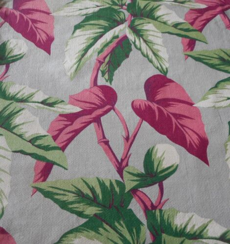 Antique Vintage Palm Leaf Barkcloth Cotton Fabric ~ Maroon Pink Green Gray