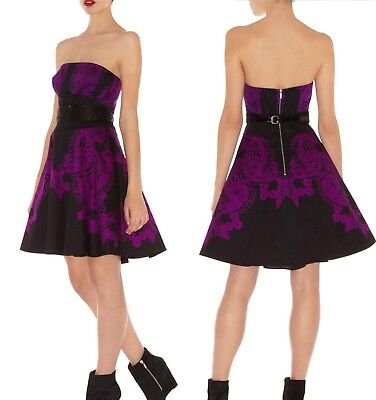 Exquisite Karen Millen 12 UK Lace Print Corset Tutu Fit Flare Prom Party Dress -