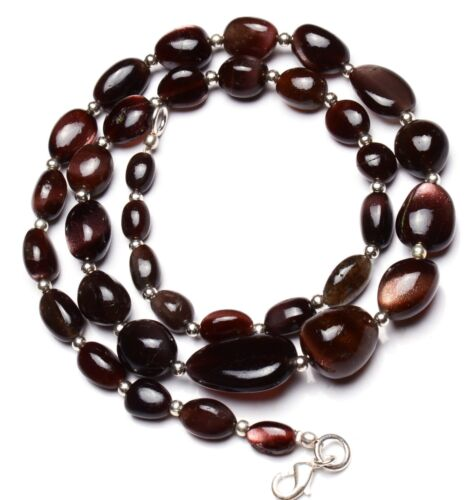 """Natural Gem Brown Scapolite Smooth Nugget Beads Necklace 21"""" Cat"""