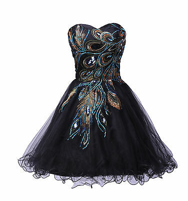 Grace Karin Peacock Tulle Homecoming Short Prom Evening Party Ball Gown Dresses