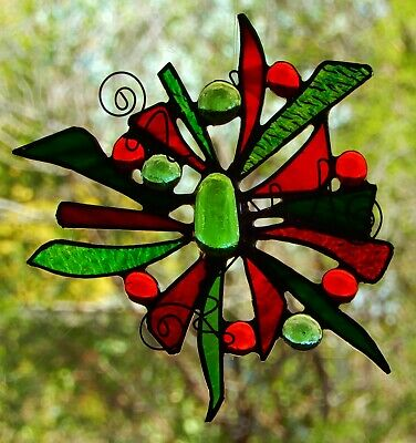 ' CHRISTMAS STAR ' Abstract Hand Made Stained Glass SUNCATCHER Gifts Under $40 ()