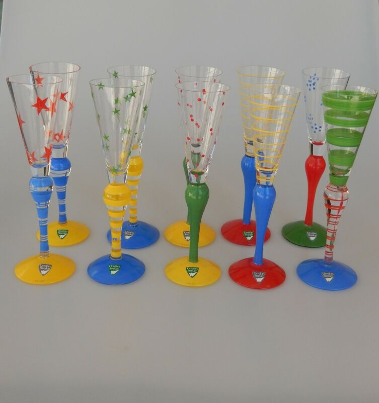 Orrefors CLOWN Crystal Schnapps Cordial Glasses Set of 10 Anne Nilsson