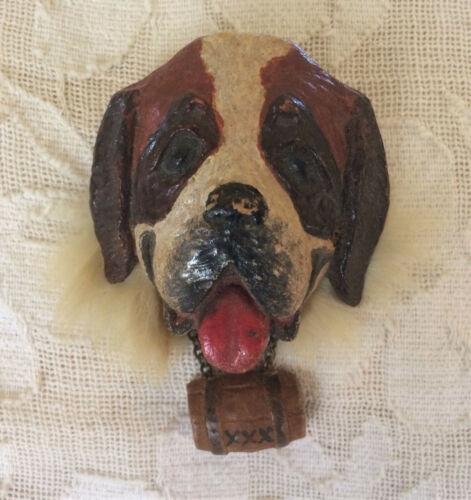 Vintage Handcrafted Saint Bernard Dog Pin brooch One of a Kind