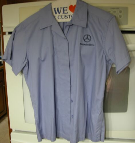 Mercedes Benz Port Authority Ladies Short-Sleeved Shirt Size Small - Blue