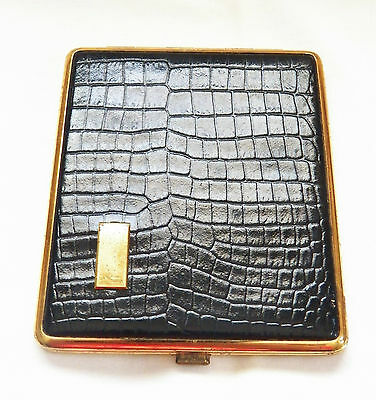 VINTAGE DARK BROWN WITH GOLD TONE GATOR LEATHER LIKE CIGARETTE CASE/GERMANY - Leather Like Cigarette Case