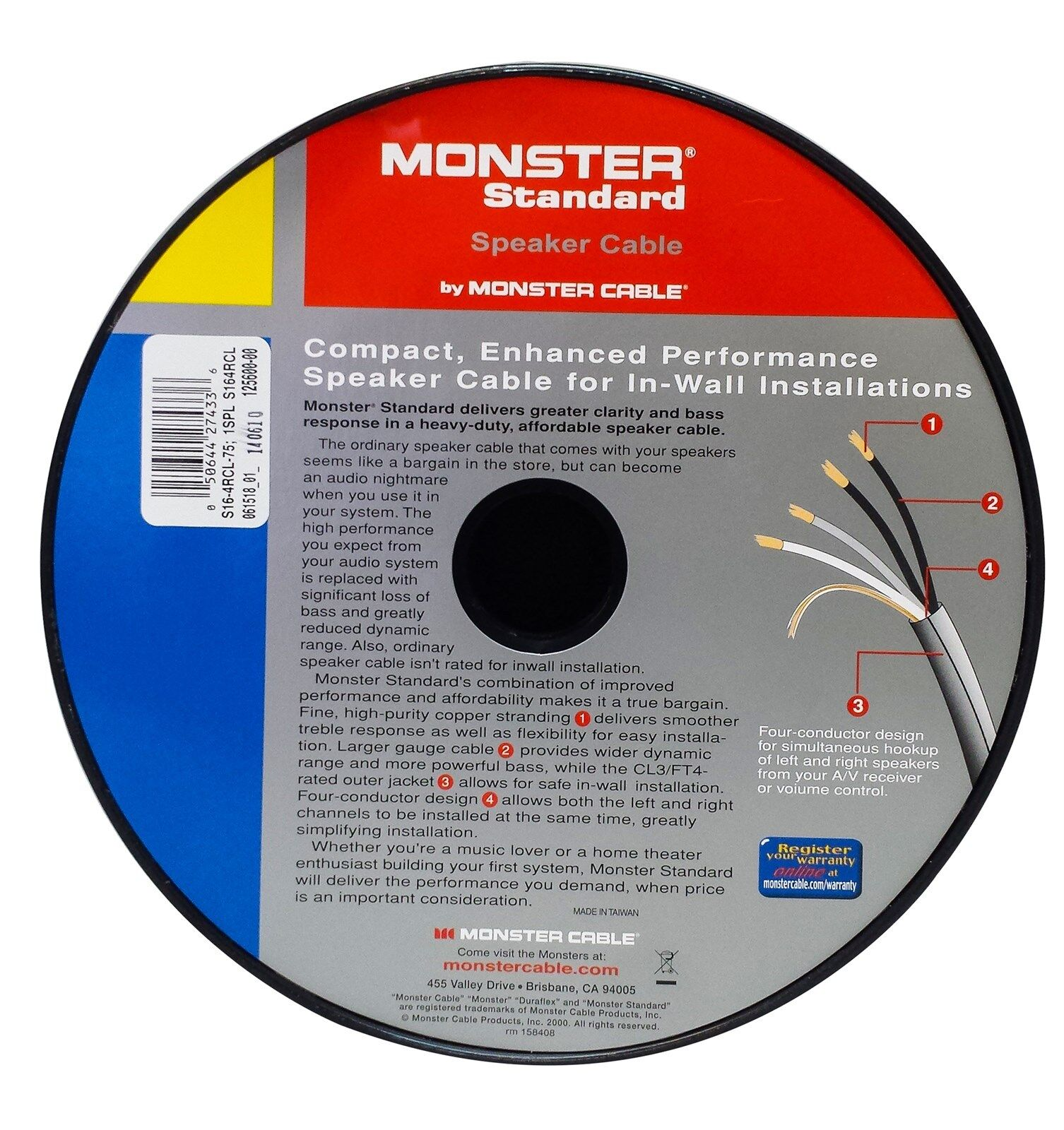 monster cable s16 4rcl speaker wire cl3 in wall rated 16 gauge 75 ft length ebay. Black Bedroom Furniture Sets. Home Design Ideas