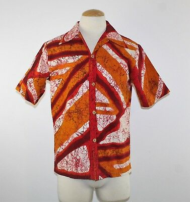 Vintage 70's Men's Hawaiian Bark Cloth Shirt by Andrade - Made in Hawaii - S/M