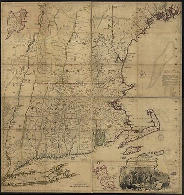A4 Reprint of American Cities Towns States Map New England