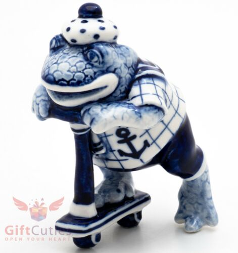 Porcelain Gzhel Frog Toad riding scooter Figurine Souvenir handmade hand painted