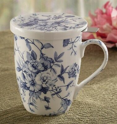 Victorian Trading Co Blues in Bloom with Infuser Blue White Flowers