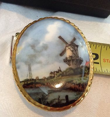 Aynsley Hand Painted Fine China Large Brooch Dutch  Scenic Windmill Scene