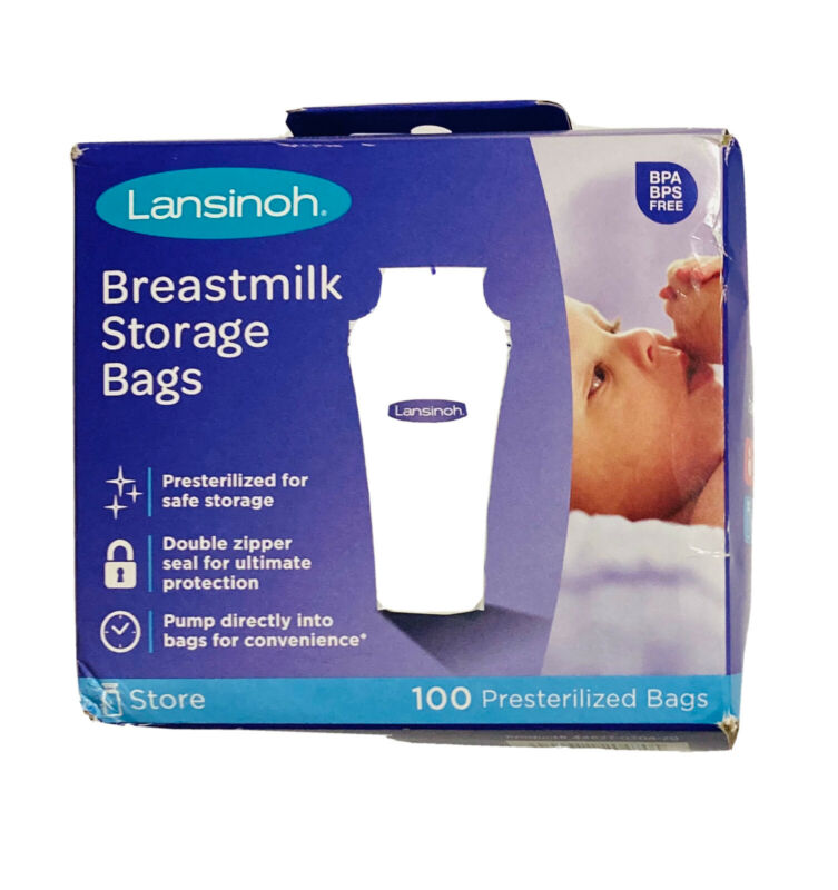 Lansinoh Breastmilk Storage Bags - 100 Count - Presterilized - New