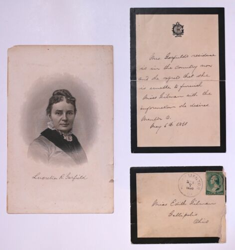"Lucretia Garfield Photograph//Autograph 8-1//2/"" X 11/"" Wife of President James A"