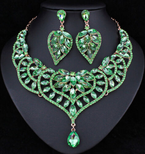 Water Lily Green Austrian Rhinestone Necklace Earrings Set Prom Bridal N916g