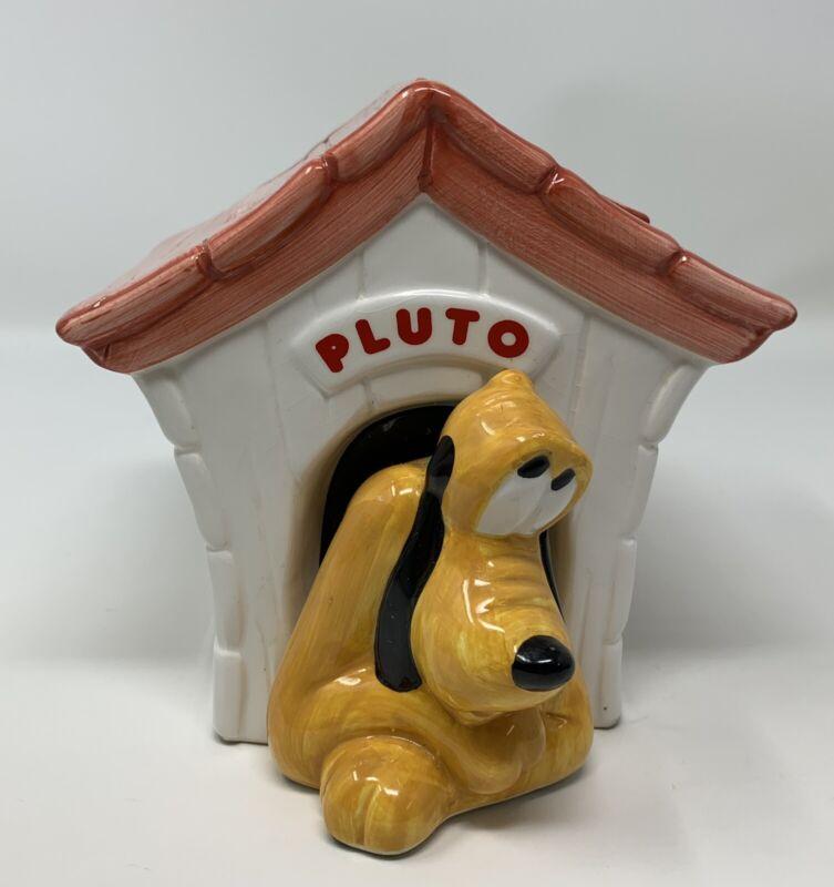 Teleflora Disney Mickey Pluto Dog Ceramic Trinket Jar Vase Planter Doghouse READ