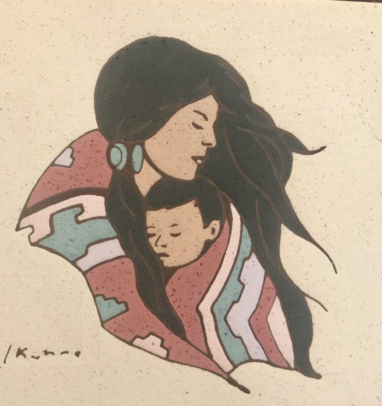 """Earthtones Southwestern Tile Art Trivet Signed L. Ruhne 6X6"""" Mother And Child"""