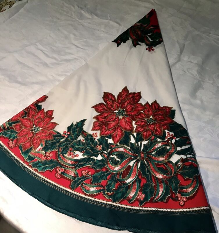 """69"""" Pristine Vintage Round Christmas Tablecloth, No Stains, 1980's, Gold Accents"""