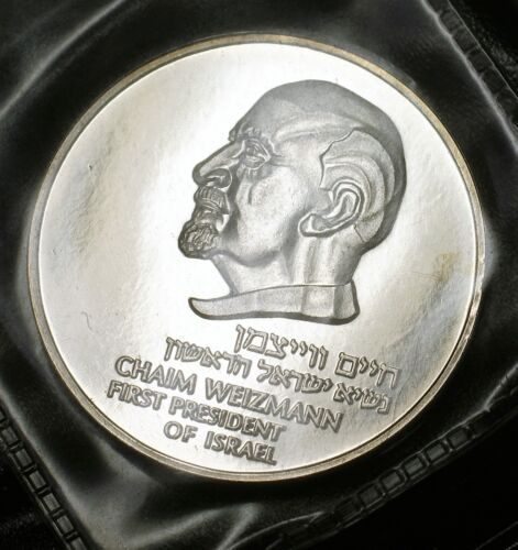1975 The Weizmann Medal Israel State .935 Silver UNC OGP COA Box 1