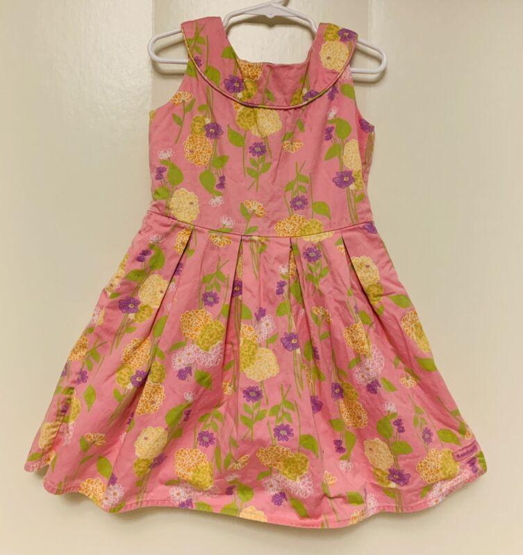 American Girl Girls Dress 6 Pink Floral Spring Summer 100% cotton flare skirt