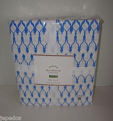 Pottery Barn Skye Organic Cotton King Sheet Set NIP French Blue on Lookza