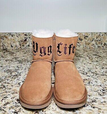 UGG x Jeremy Scott UGG Life Classic Mini Chestnut Suede Real Lamb Fur Women Sz 8