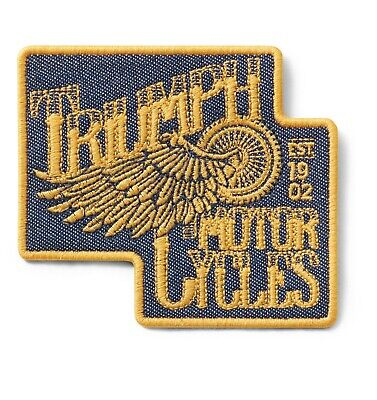 GENUINE TRIUMPH MOTORCYCLE FLYING WHEEL PATCH IRON ON PATCH BADGE EMBROIDERED