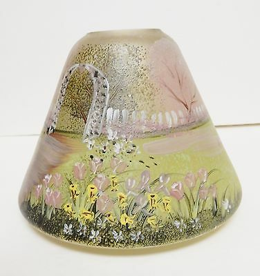 """Glass Lamp Shade Frosted Hand Painted Landscape Design 4 3/16""""Tx5 3/4""""W VINTAGE"""