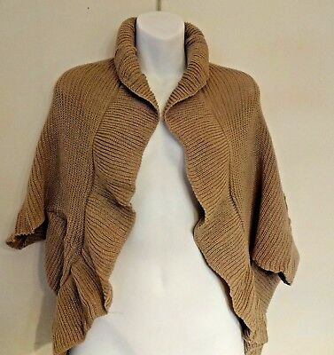 Beige cape sweater shrug scarf ruffled edge ribbed knit acrylic Look by M - Ruffled Knit Shrug