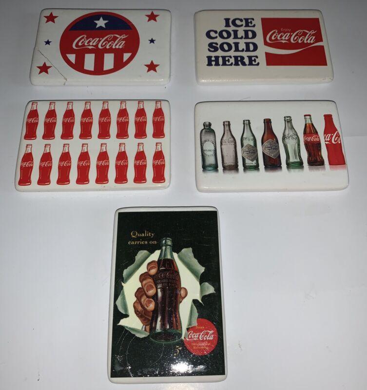 """Vintage Coca Cola Magnets set of 5 each magnet 2""""x3"""""""