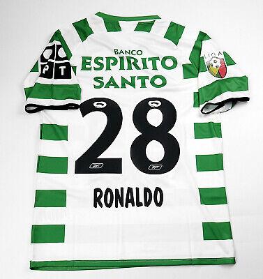 Sporting Lisbon Football Shirt Jersey 2002-2003 Cristiano Ronaldo 28 Size XL image