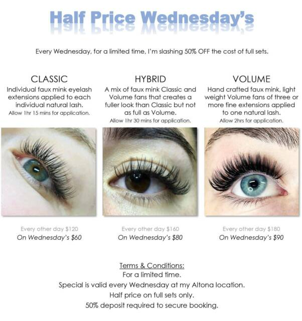 3aa0fbe0ffd Half Price Eyelash Extensions - Full Sets Classic, Hybrid & Volum ...