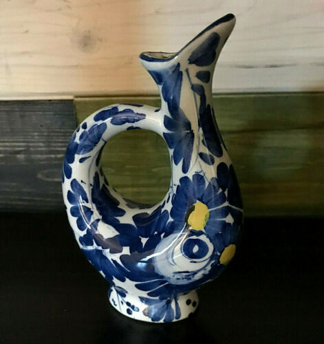 "Blue And White Porcelain 1969 Vintage Drioli 5"" Miniature Mini Liquor Bottle"