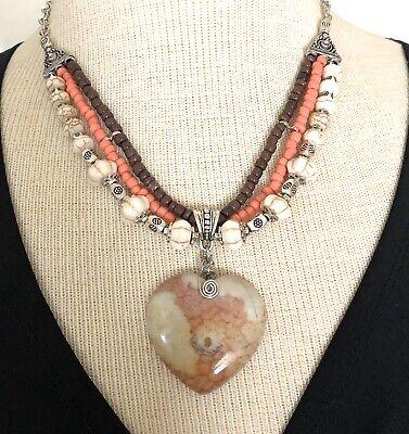 Heart Ammonite Fossil Bohemian Beaded Necklace Artisan handmade USA 1704