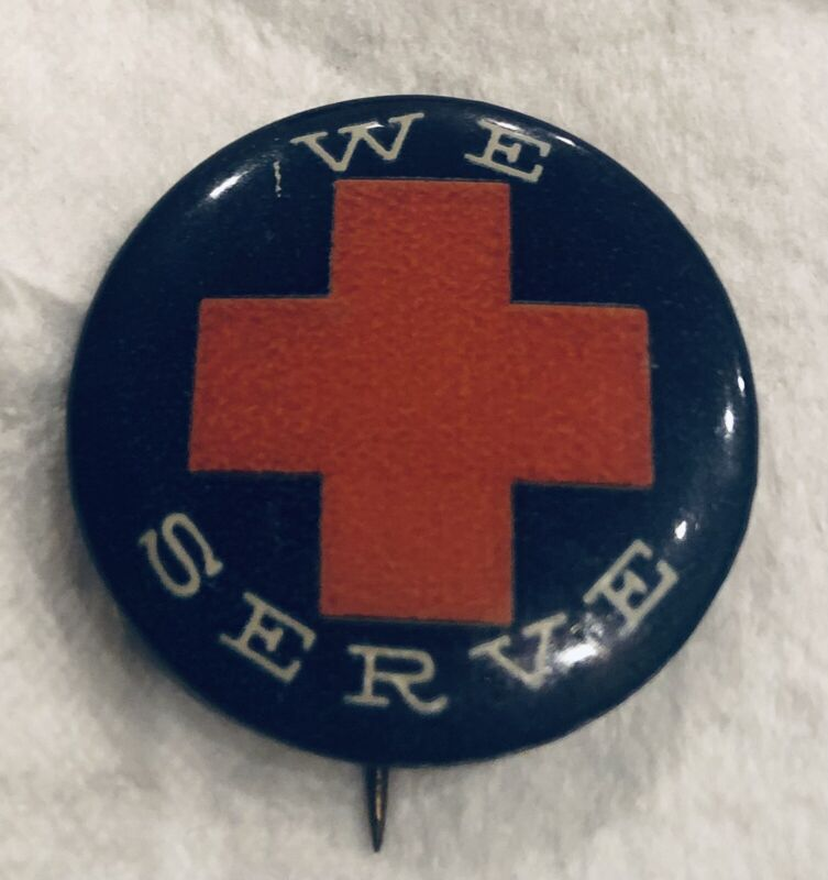 "VINTAGE WW2 1945 ""WE SERVE"" Blue RED CROSS Uniform PIN BACK BUTTON"