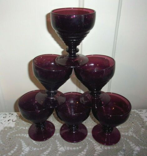 6 Depression Glass Amethyst Ringed / Banded Footed Sherbets
