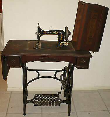 ANTIQUE LOESER NO 3 SEWING MACHINE & TREADLE TABLE SERIAL # 1431278