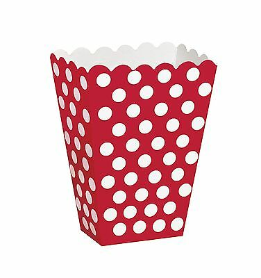 Ruby Red & White Polka Dot Party Treat Boxes   Box   Carton 8-48pk - Red White Polka Dot Party Supplies