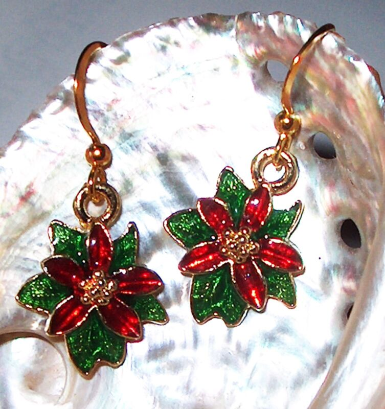 Poinsettia Enamel Red Green Gold Christmas Small EARRINGS Kirsten USA Gift Bag