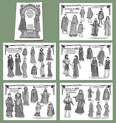 5 Sammlungen Nr. 1 bis 5 - Schnittmuster Mittelalter Historische Kostüme 5.1