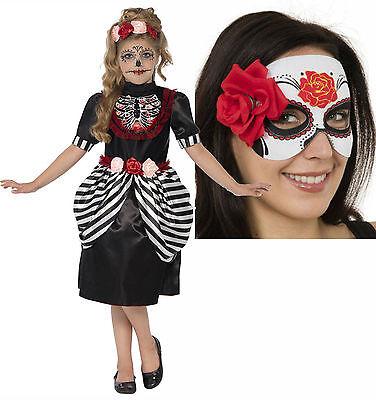 Sugar Skull Day of Dead Girls Childs Kids Halloween Fancy Dress Costume + - Sugar Skull Kid Kostüm